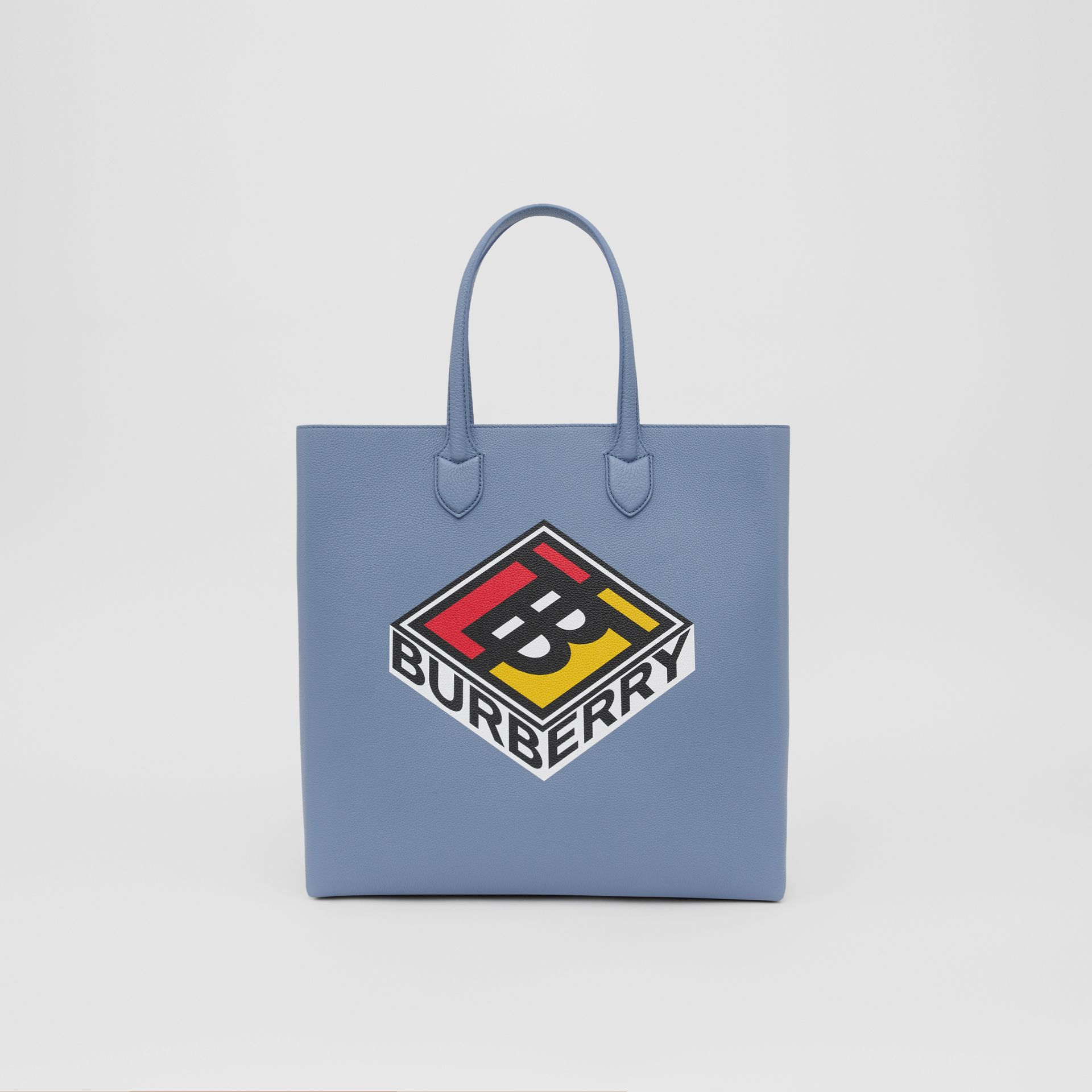 Large Logo Graphic Grainy Leather Tote in Baby Blue - Men | Burberry United Kingdom - gallery image 0
