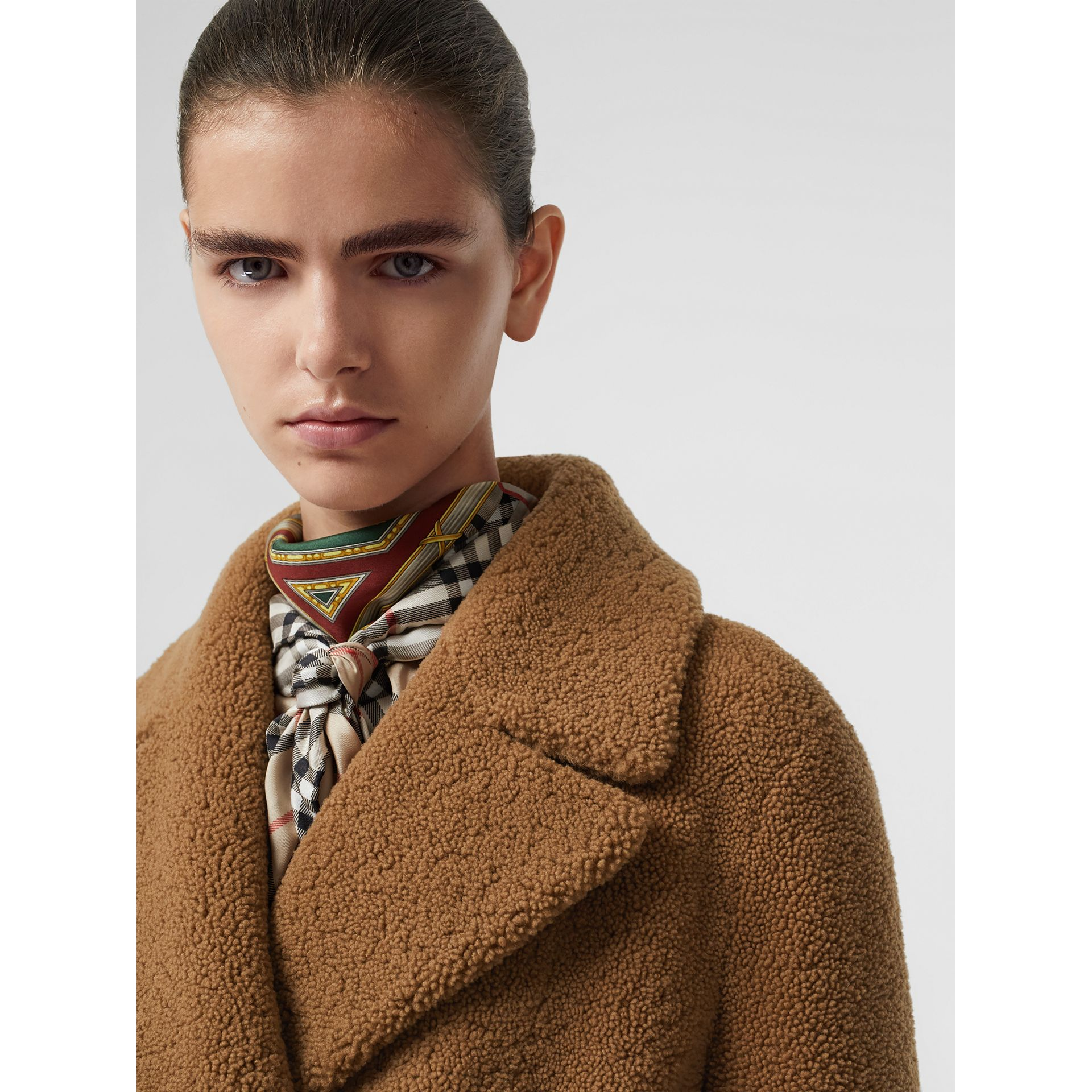 Shearling Tailored Coat in Caramel - Women | Burberry United Kingdom - gallery image 1