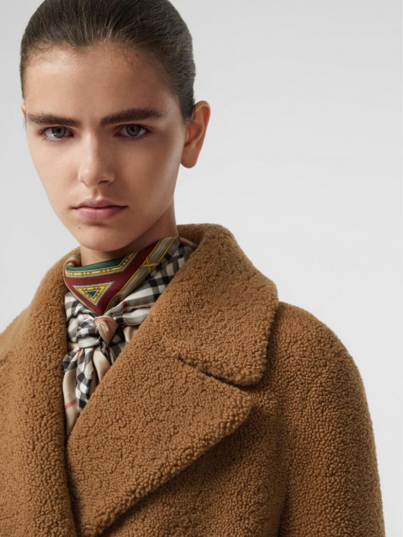 Shearling Tailored Coat in Caramel - Women | Burberry United States - cell image 1