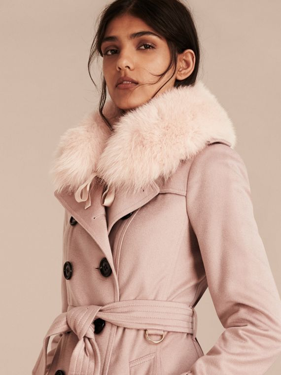 Ash rose Fox Fur Collar with Check Cashmere Lining Rose - cell image 2