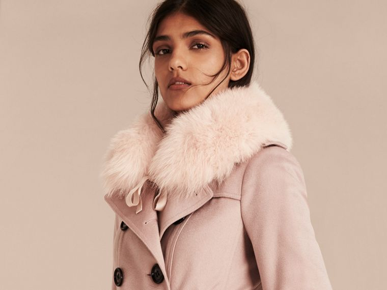 Fox Fur Collar with Check Cashmere Lining in Ash Rose - Women | Burberry United Kingdom - cell image 2