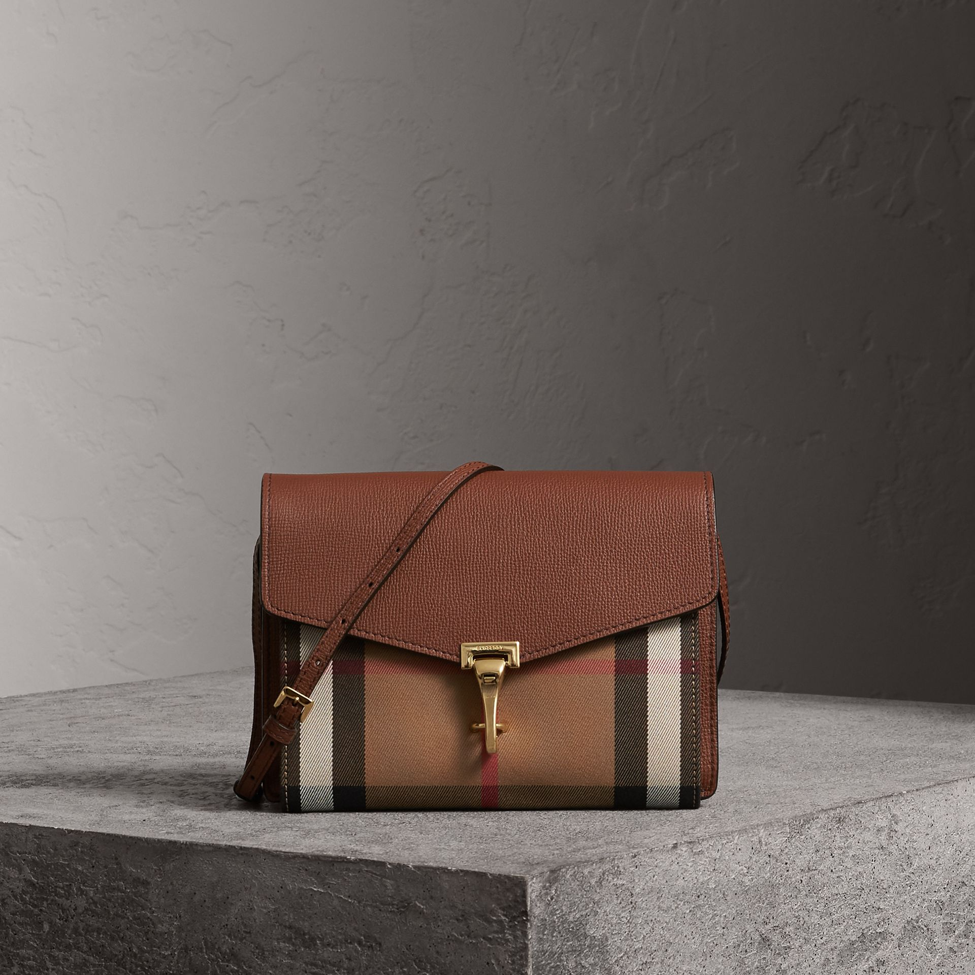 Small Leather and House Check Crossbody Bag in Tan - Women | Burberry Australia - gallery image 0
