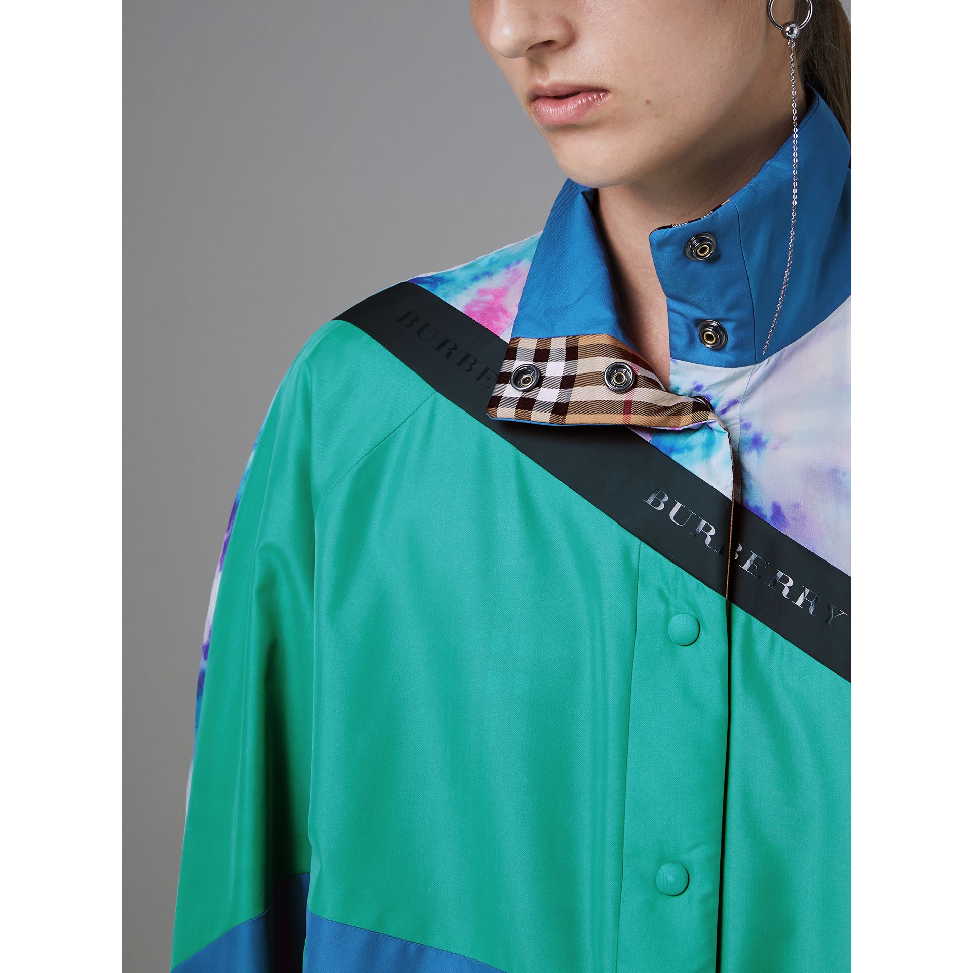 Tie-dye Silk Shell Suit Jacket in Turquoise - Women | Burberry United Kingdom - gallery image 1