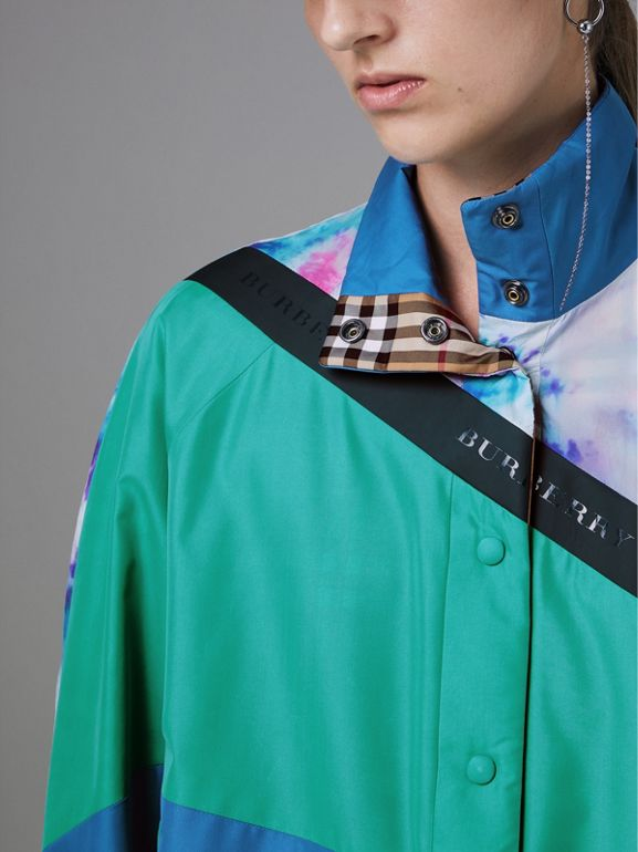 Tie-dye Silk Shell Suit Jacket in Turquoise - Women | Burberry United Kingdom - cell image 1