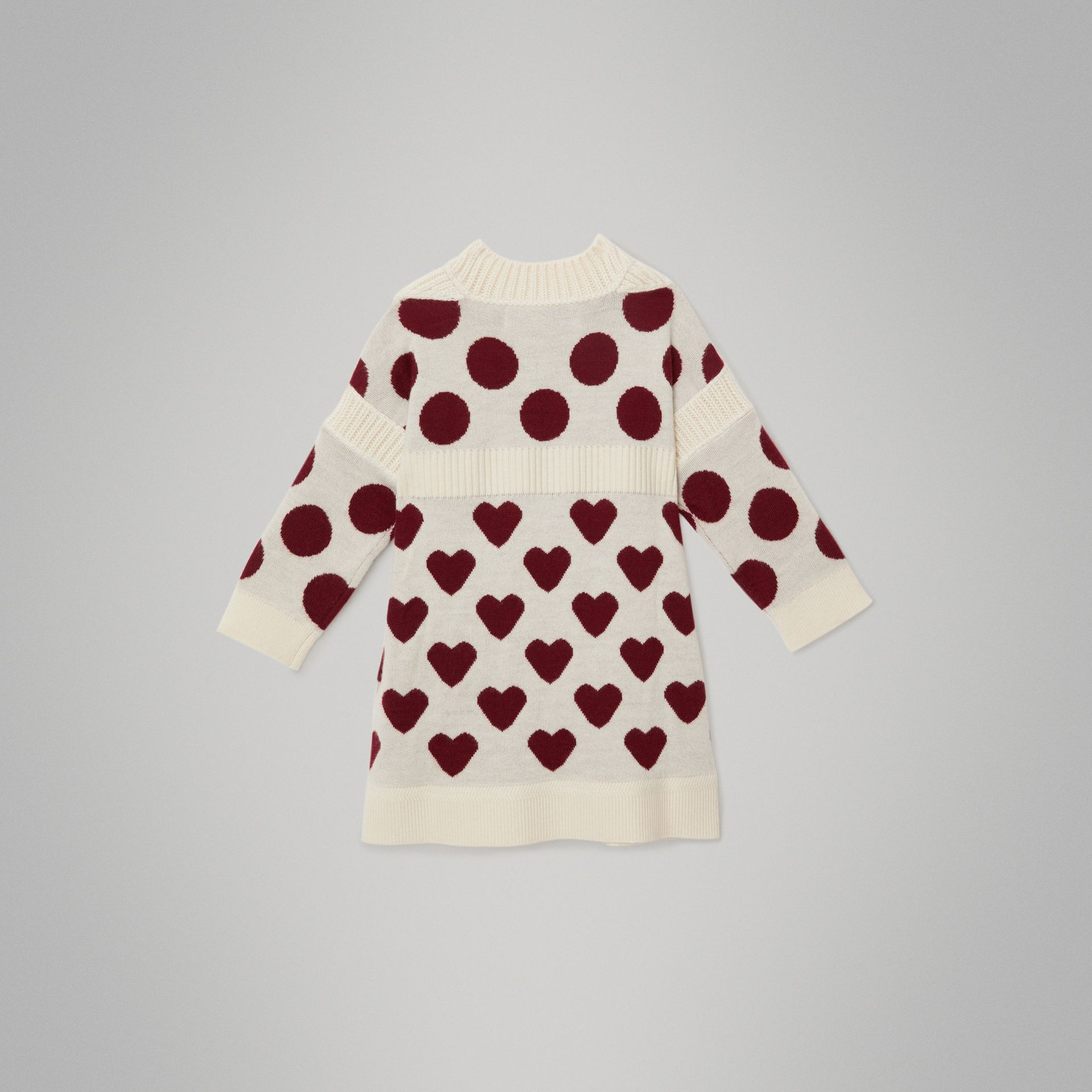 Heart and Spot Intarsia Cashmere Sweater Dress in Natural White - Children | Burberry United Kingdom - gallery image 3