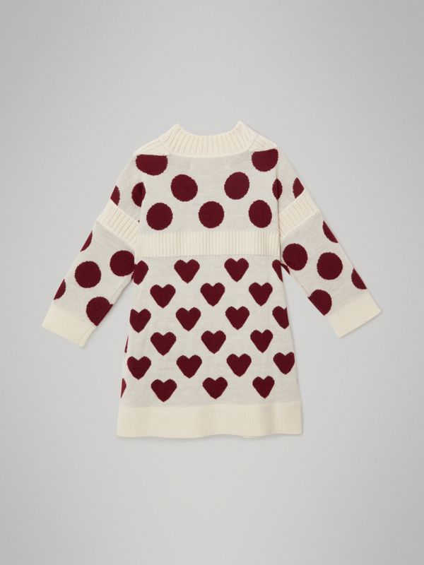 Heart and Spot Intarsia Cashmere Sweater Dress in Natural White - Children | Burberry - cell image 3