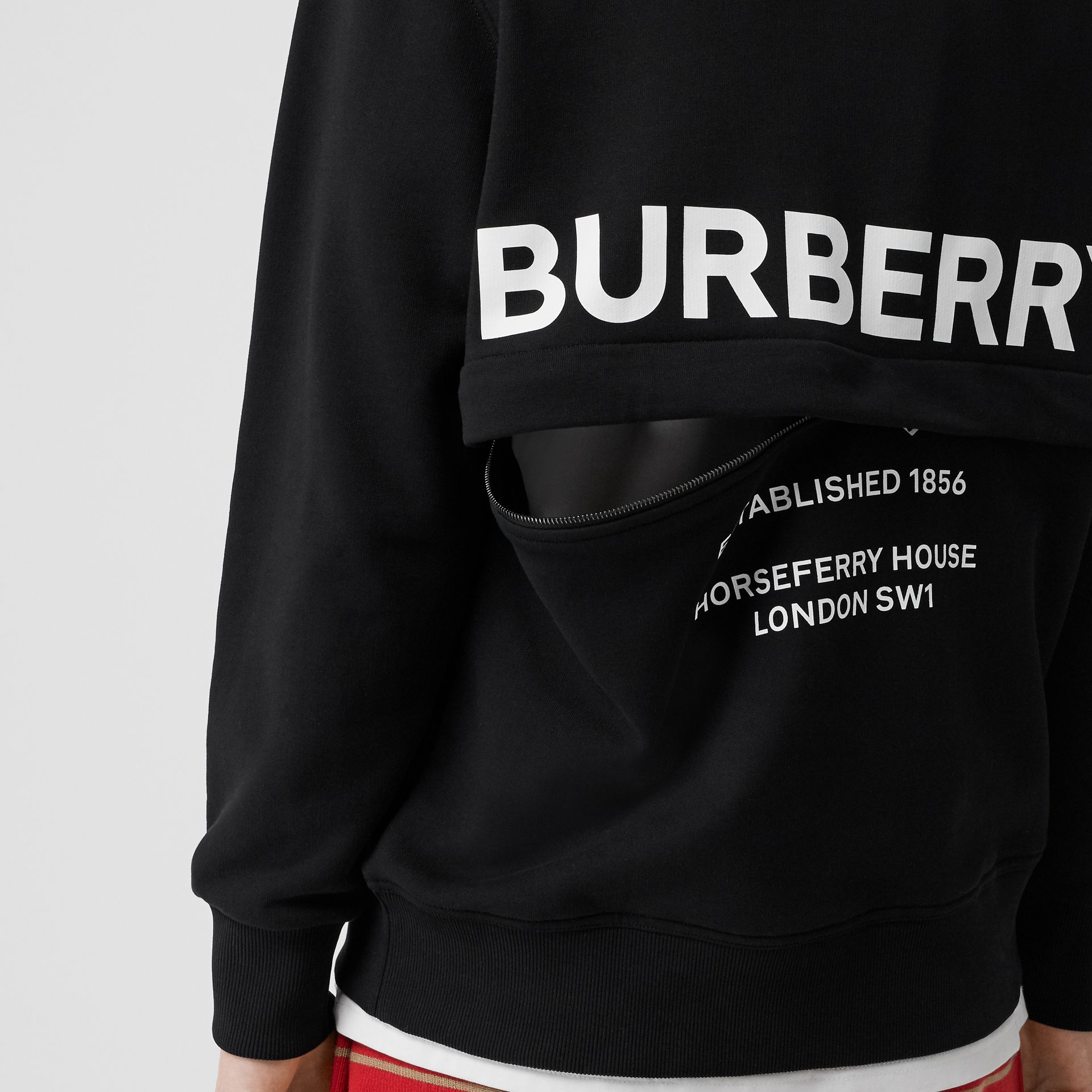Zip Detail Horseferry Print Cotton Sweatshirt in Black - Men | Burberry - gallery image 1