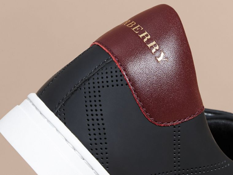 Perforated Check Leather Trainers in Black/deep Claret Melange | Burberry - cell image 1
