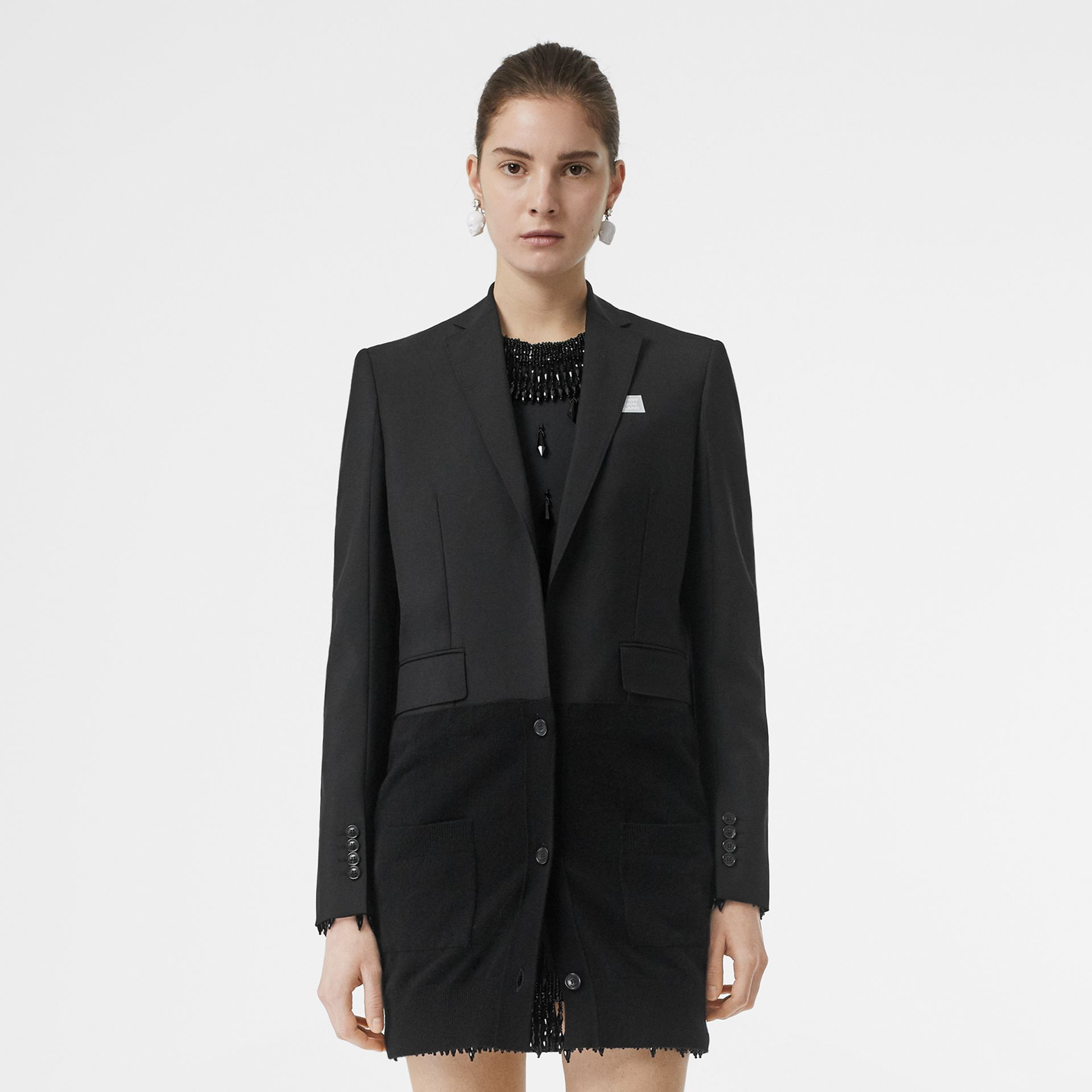 Cashmere Panel Wool Mohair Tailored Jacket in Black - Women | Burberry Canada - gallery image 7