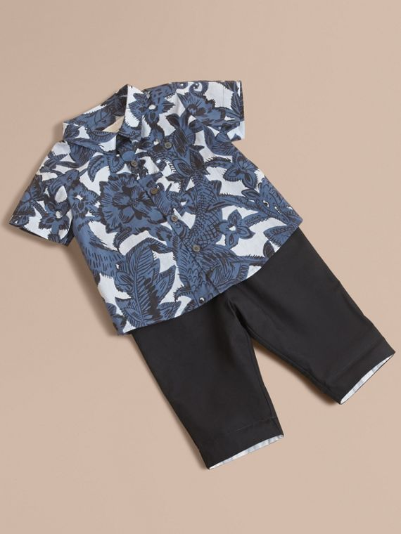 Short-sleeve Beasts Print Cotton Shirt in Stone Blue