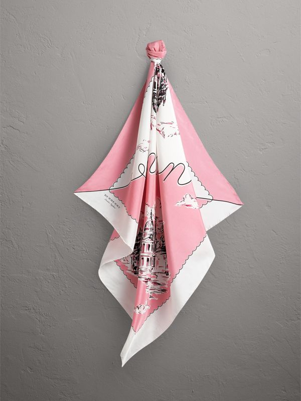 London Print Silk Square Scarf in Rose Pink - Women | Burberry - cell image 2