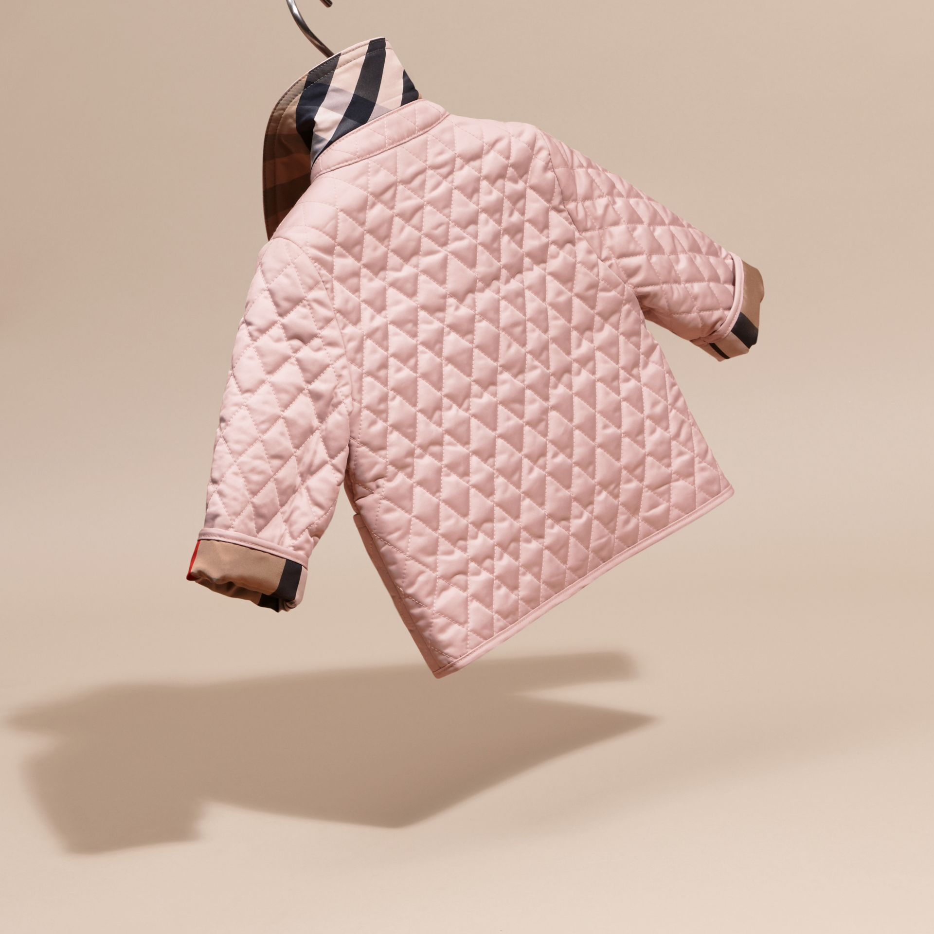 Check Detail Diamond Quilted Jacket in Powder Pink | Burberry - gallery image 4