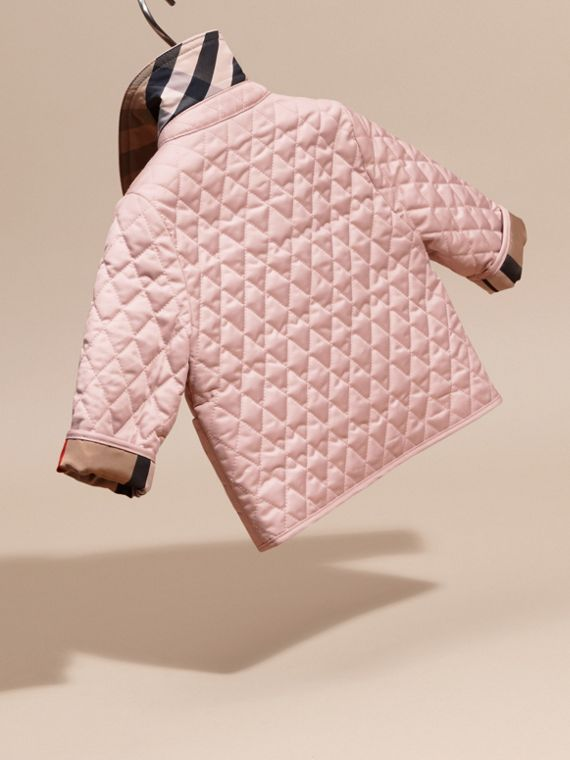 Check Detail Diamond Quilted Jacket in Powder Pink | Burberry United Kingdom - cell image 3