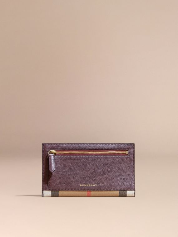 House Check and Grainy Leather Travel Wallet in Wine - cell image 2
