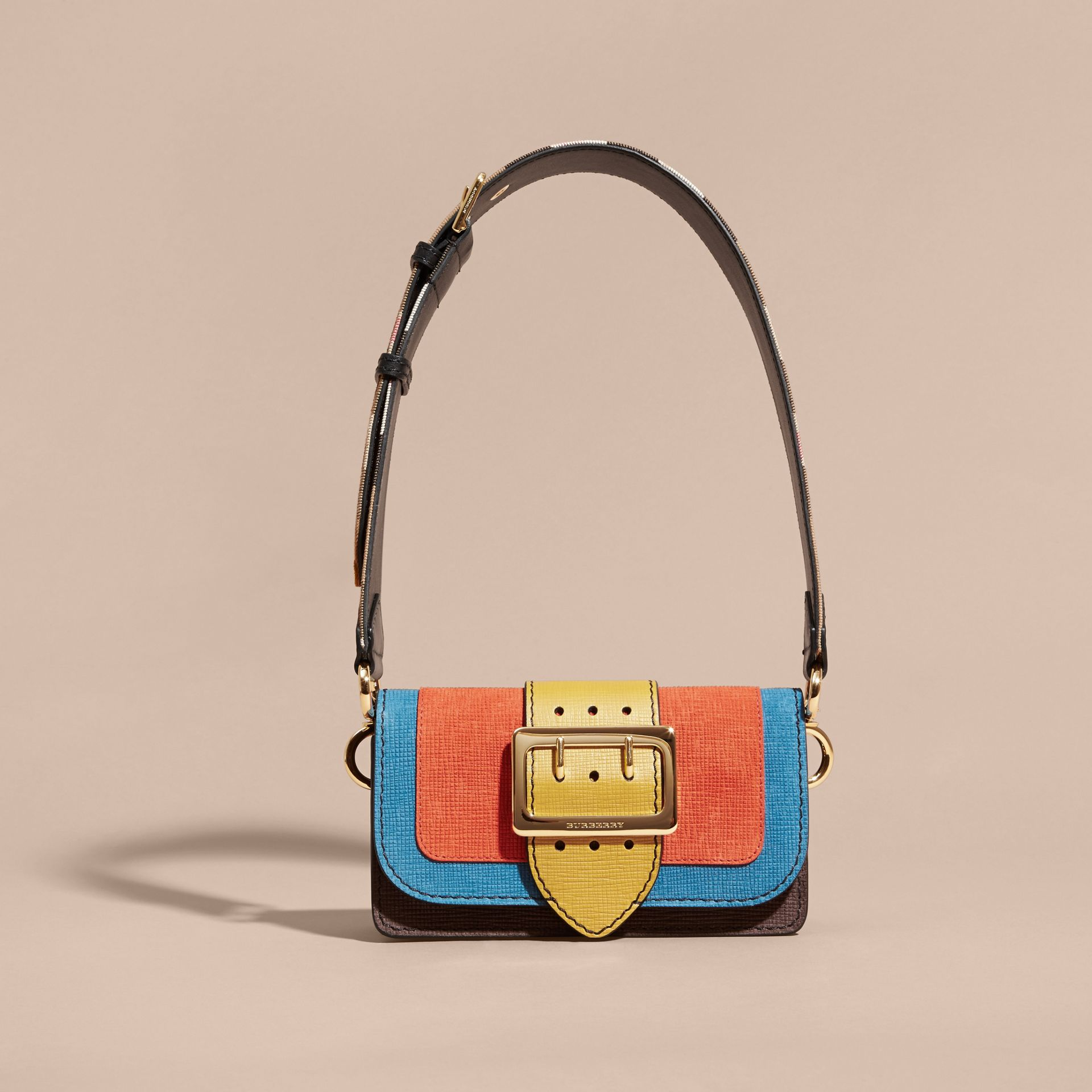 The Small Buckle Bag in Textured Leather Orange - gallery image 9