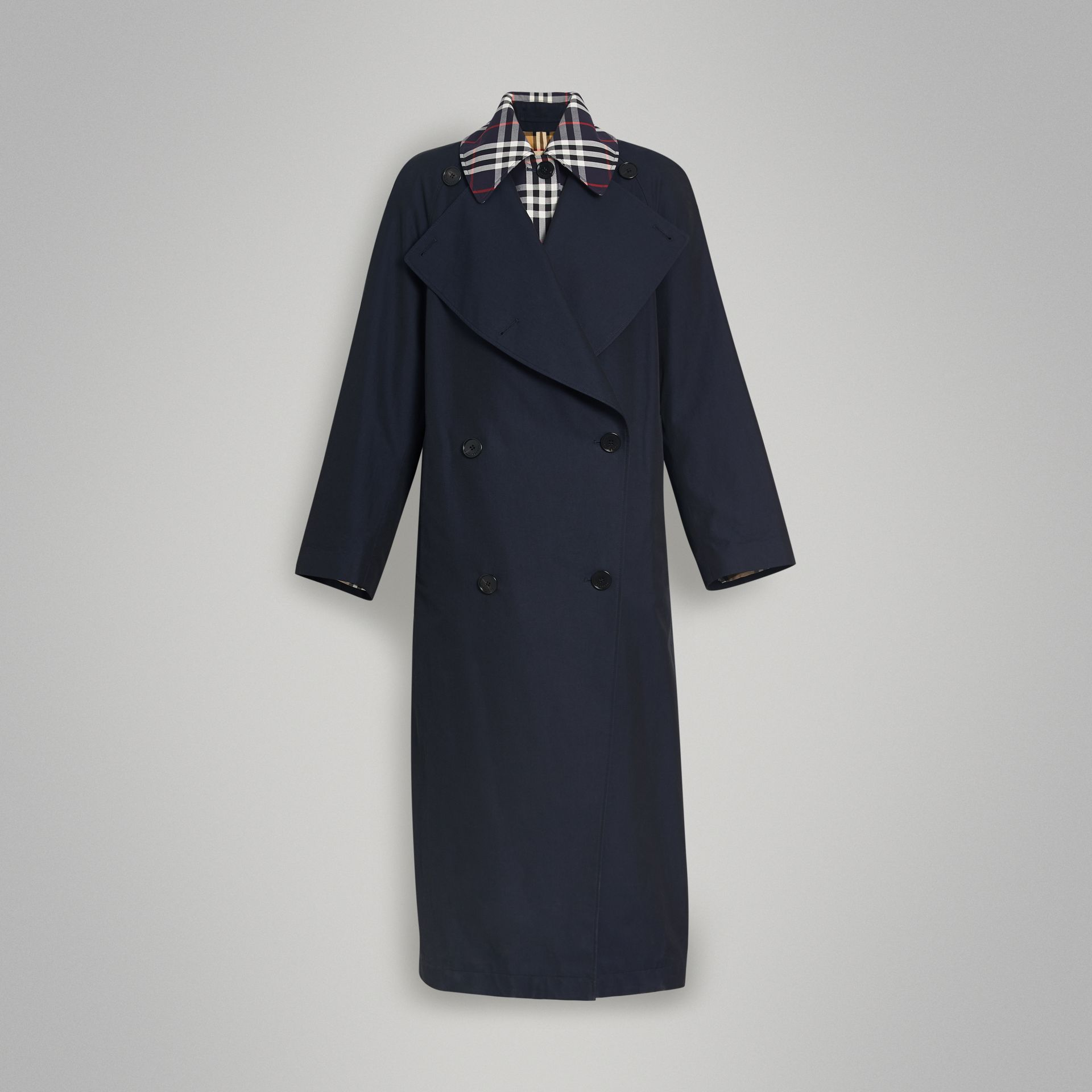 Double-Front Oversized Car Coat in Blue Carbon - Women | Burberry - gallery image 3
