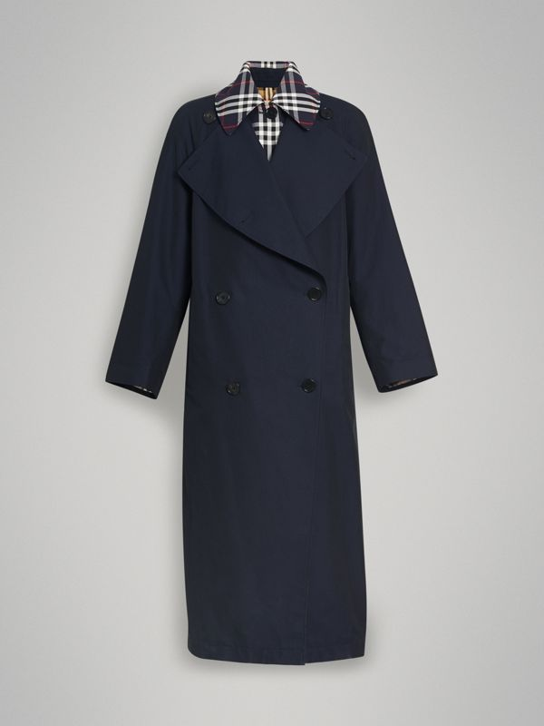 Double-Front Tropical Gabardine Car Coat in Blue Carbon - Women | Burberry - cell image 3