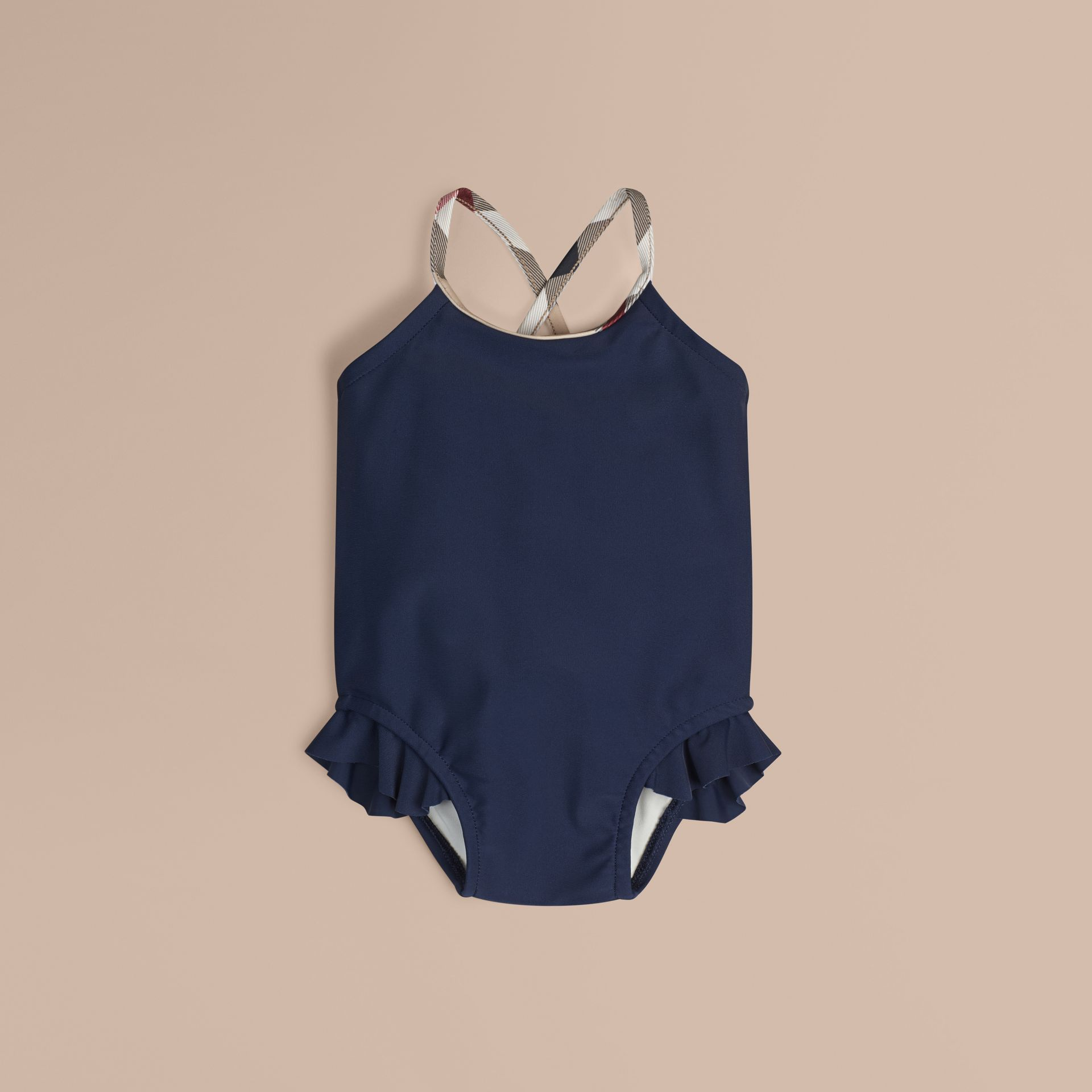 Check Trim Swimsuit in Navy | Burberry Australia - gallery image 1