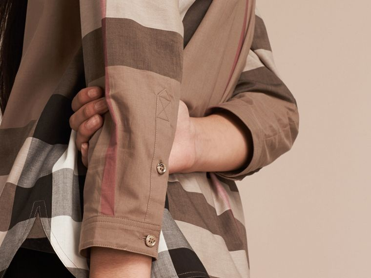 Taupe brown Check Cotton Tunic Shirt Taupe Brown - cell image 4