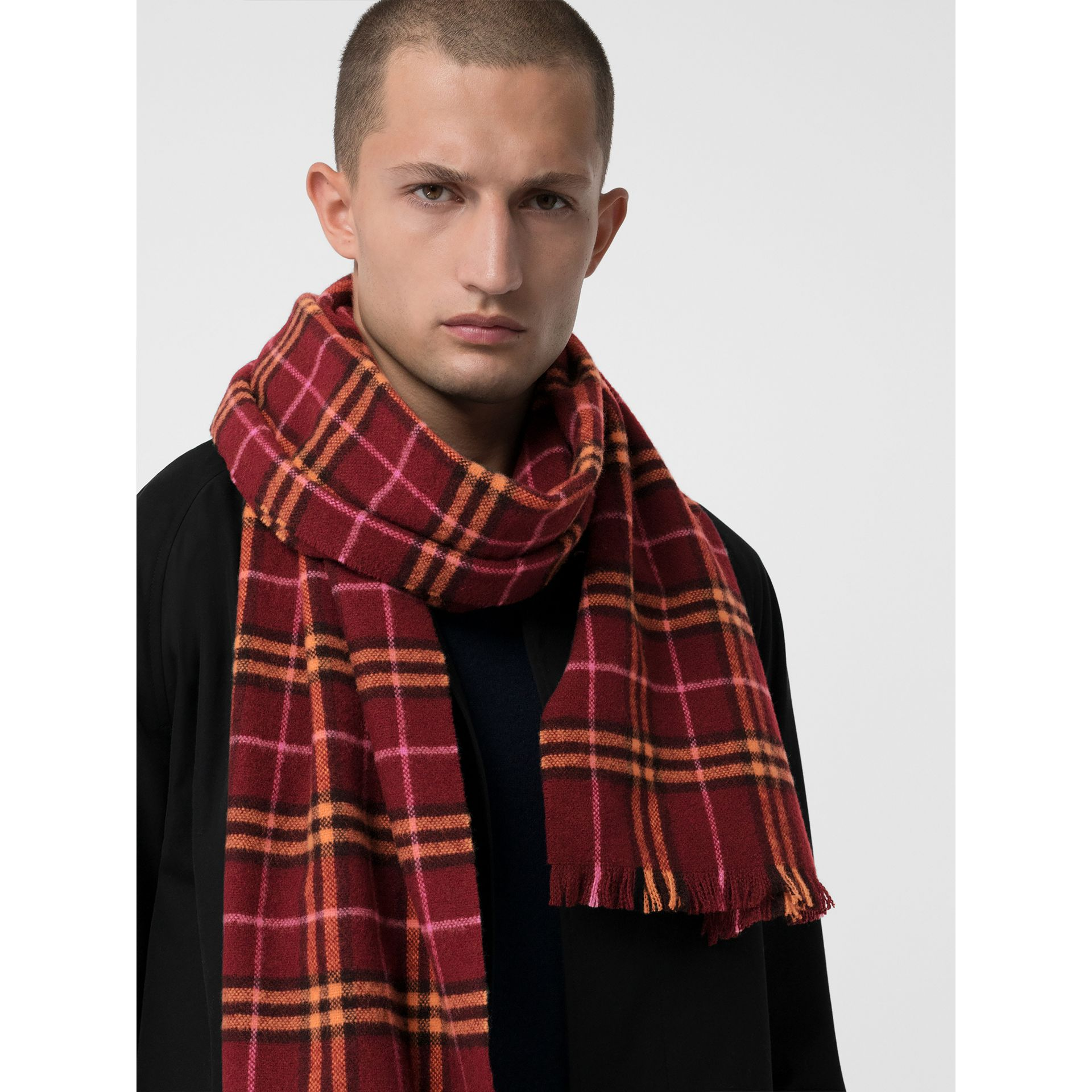 Check Cashmere Scarf in Dark Crimson | Burberry United Kingdom - gallery image 6