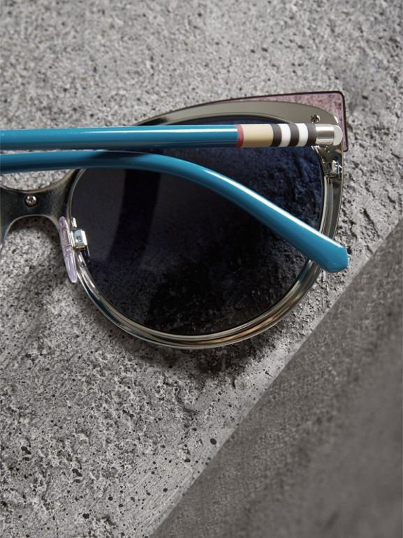 Two-tone Cat-eye Frame Sunglasses in Violet Blue - Women | Burberry Canada - cell image 1