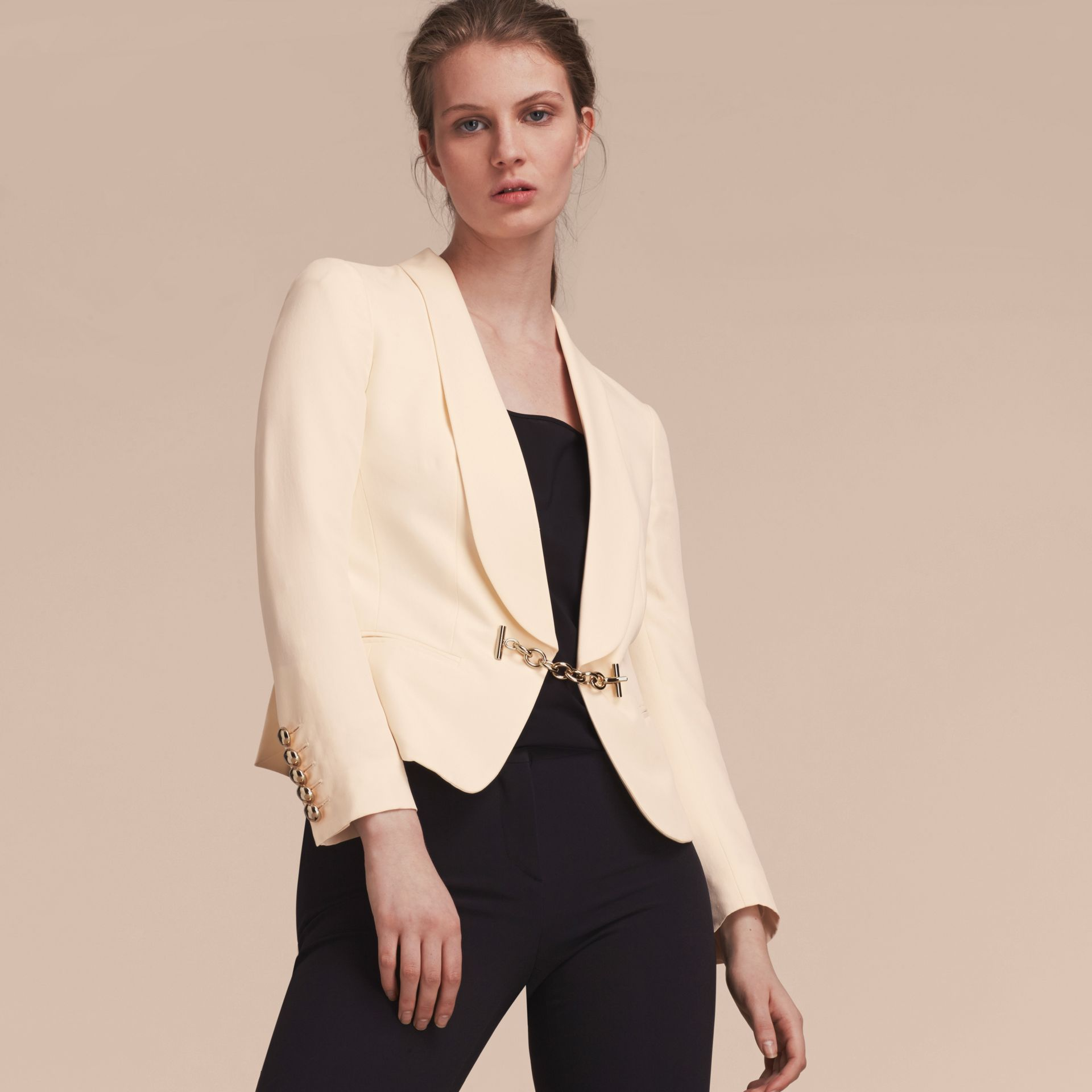 Silk Tuxedo Jacket with Chain Closure - gallery image 6