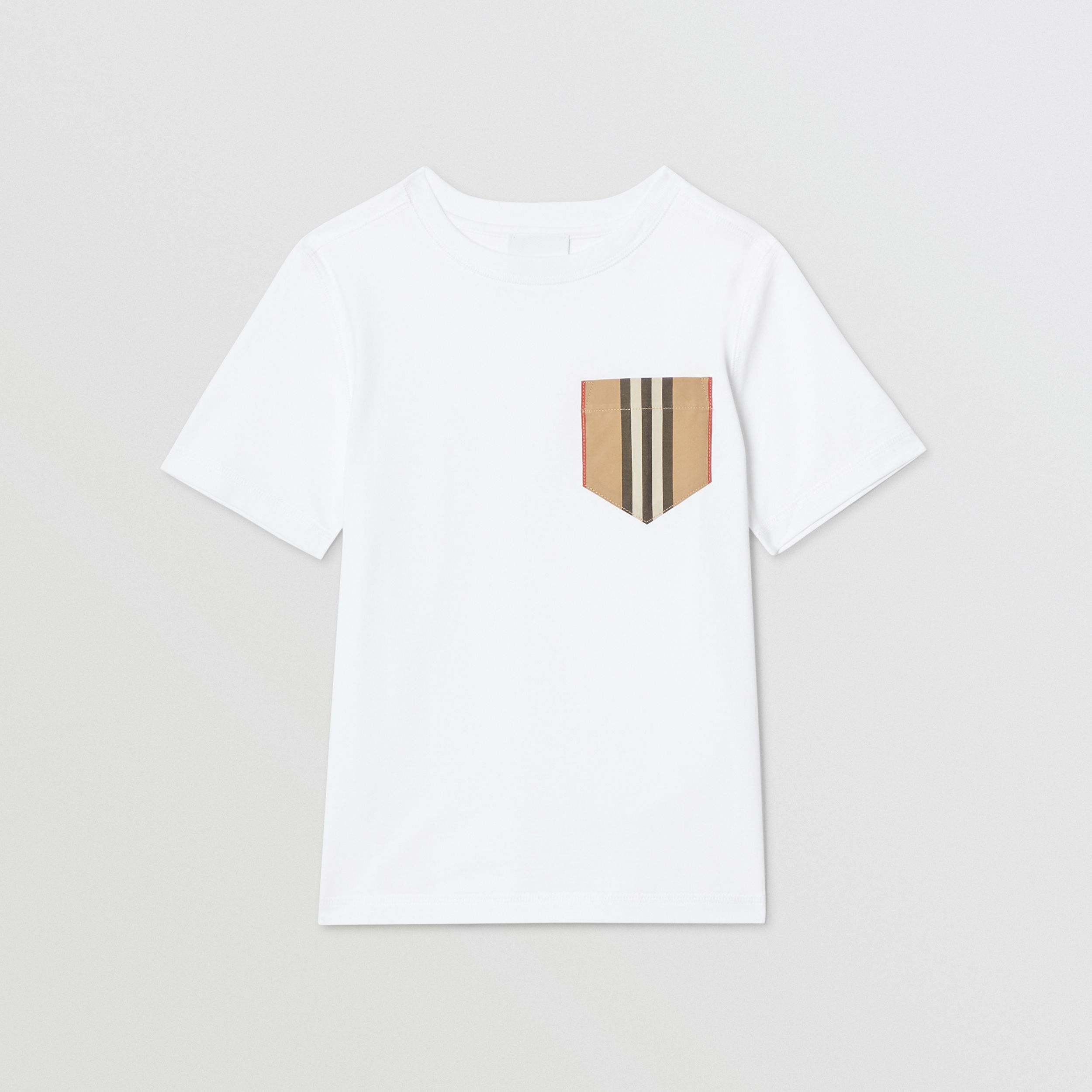 Icon Stripe Pocket Cotton T-shirt in White/archive Beige | Burberry - 1