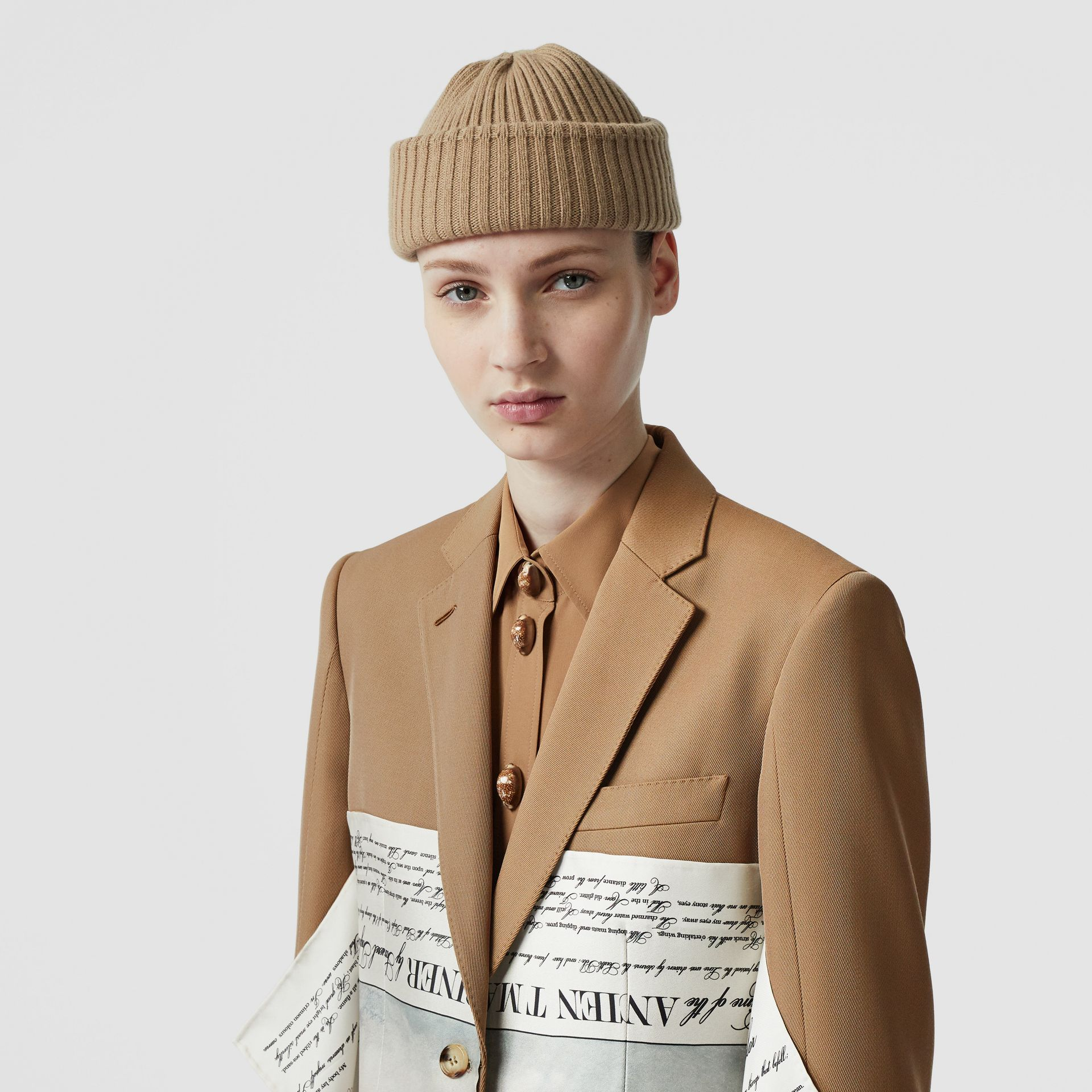 Mariner Print Scarf Detail Wool Blend Tailored Jacket in Camel - Women | Burberry - gallery image 6