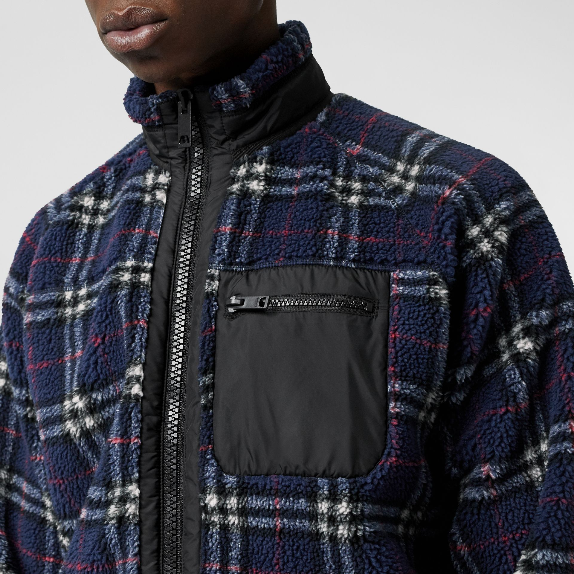 Vintage Check Faux Shearling Jacket in Navy - Men | Burberry United Kingdom - gallery image 1