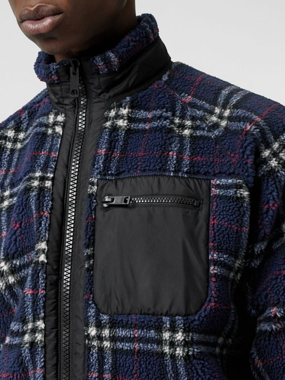 Vintage Check Faux Shearling Jacket in Navy - Men | Burberry - cell image 1