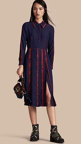 Python Print Detail Silk Satin Shirt Dress
