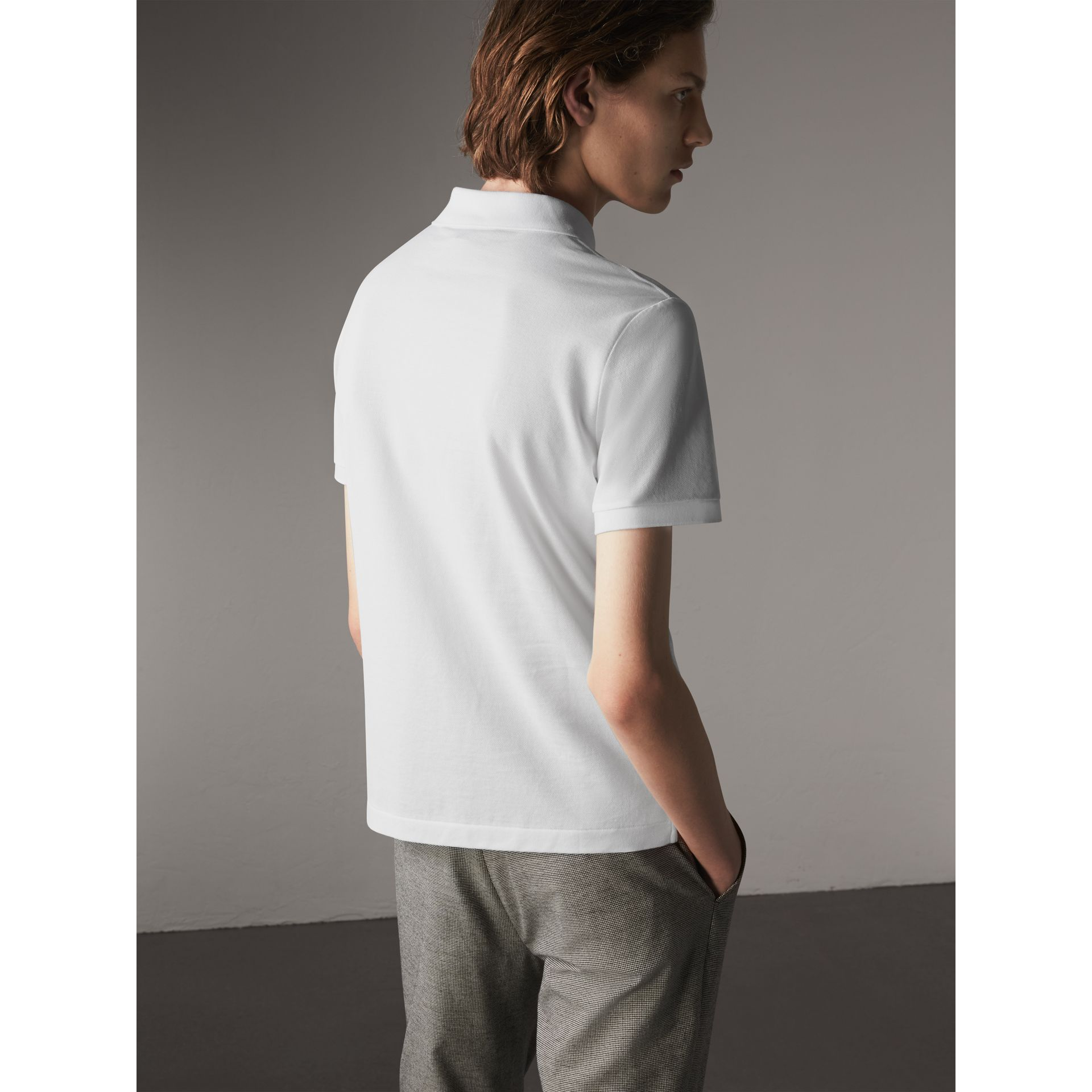 Cotton Piqué Polo Shirt in White - Men | Burberry Australia - gallery image 3