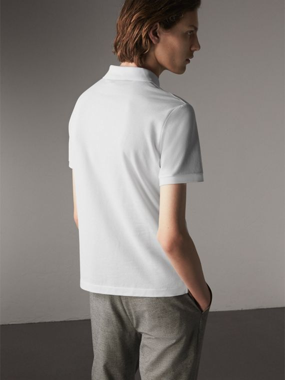 Cotton Piqué Polo Shirt in White - Men | Burberry Canada - cell image 2