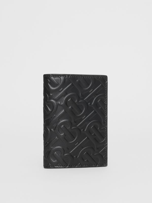 Monogram Leather Bifold Card Case in Black - Men | Burberry United States - cell image 3
