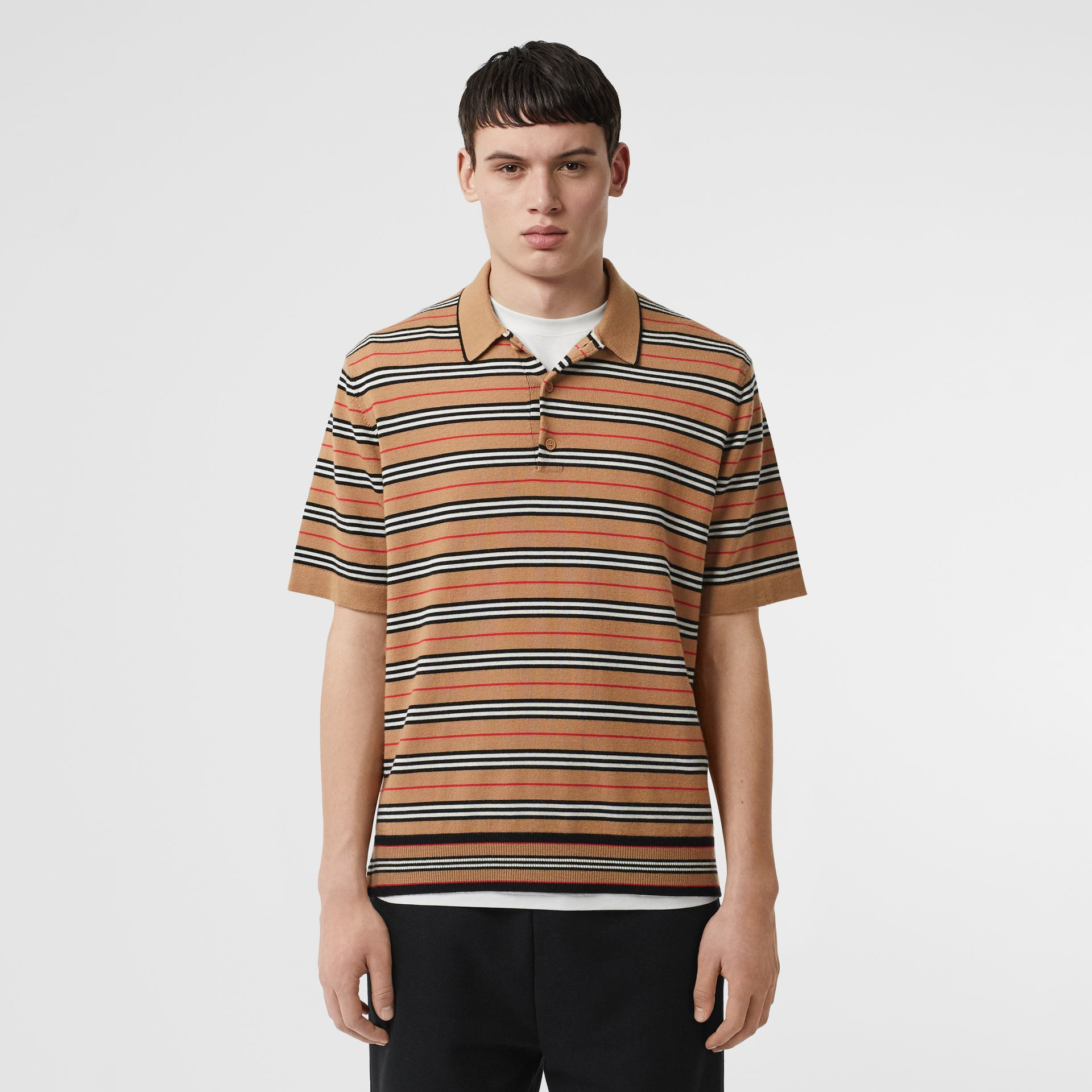Icon Stripe Merino Wool Polo Shirt in Archive Beige - Men | Burberry - gallery image 0