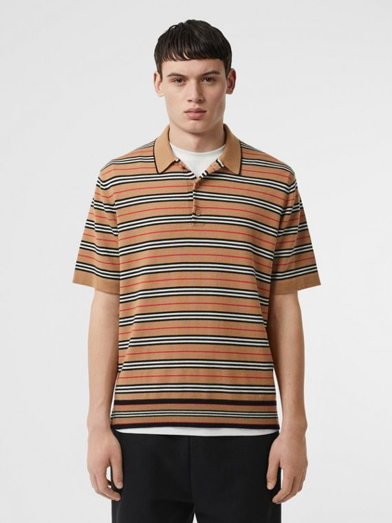 Icon Stripe Merino Wool Polo Shirt in Archive Beige