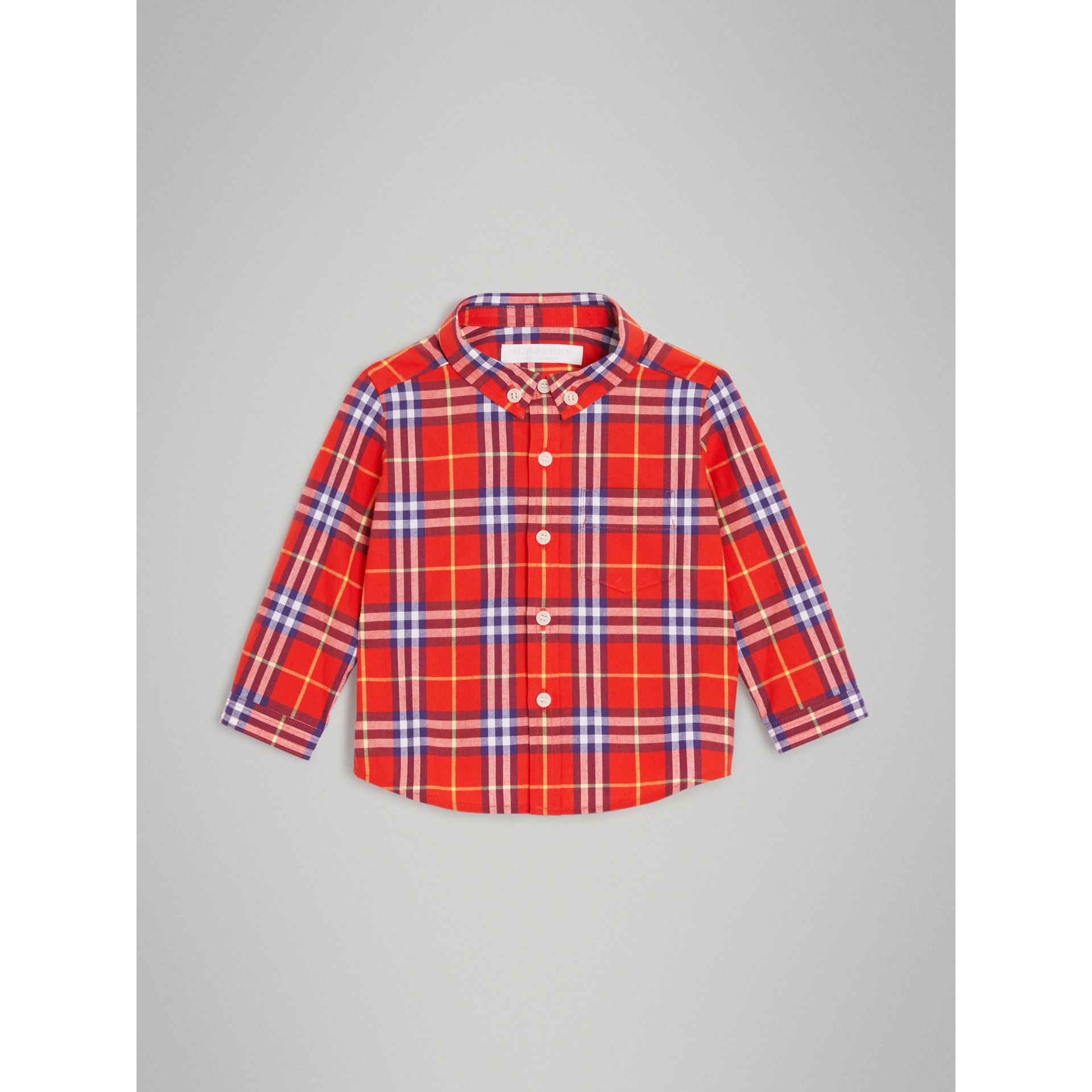 Button-down Collar Check Cotton Shirt in Orange Red - Children | Burberry Singapore - gallery image 0