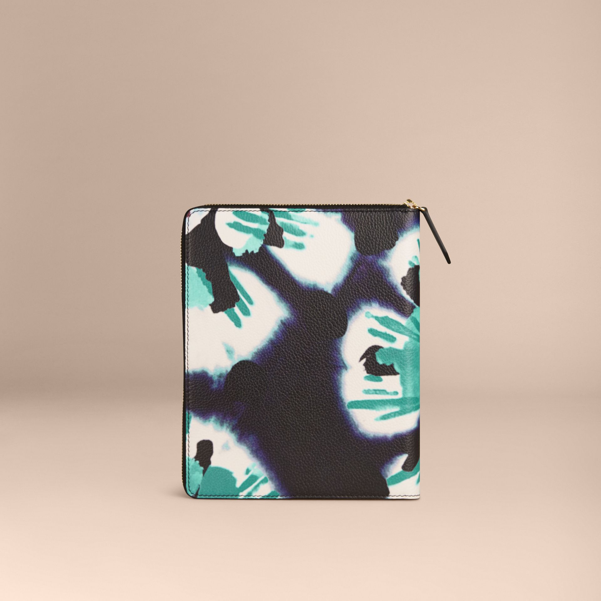 Navy Ziparound Tie-dye Print Grainy Leather A5 Notebook Navy - gallery image 4