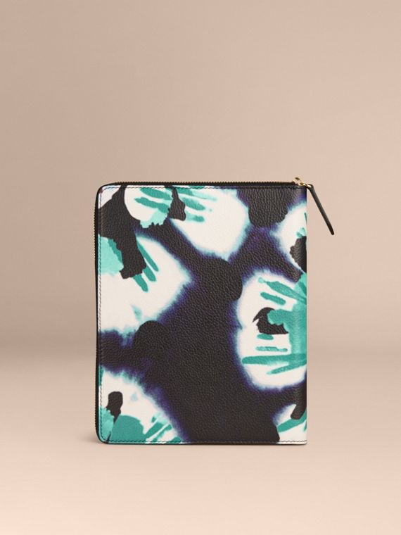 Navy Ziparound Tie-dye Print Grainy Leather A5 Notebook Navy - cell image 3