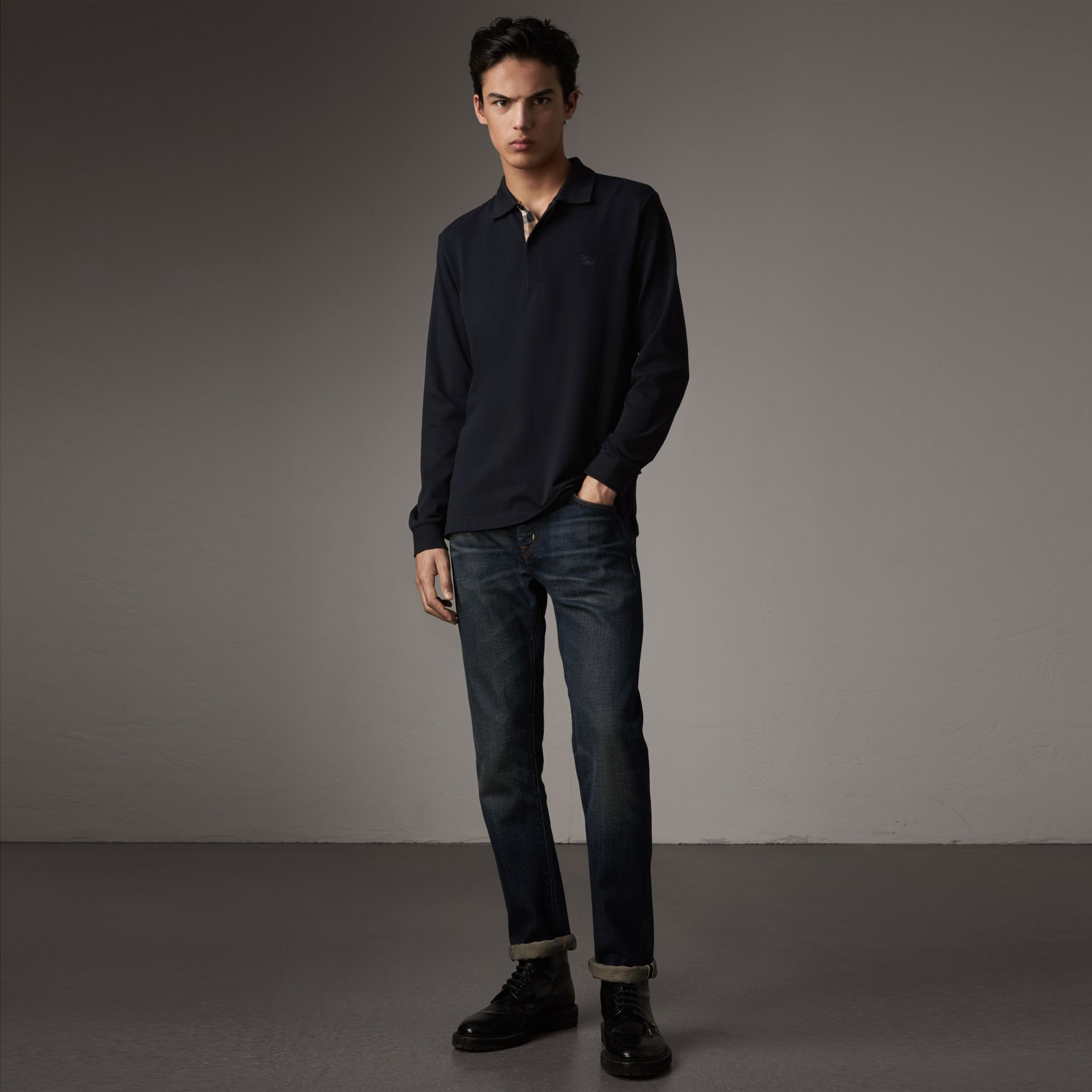 Check Placket Long Sleeve Polo Shirt in Dark Navy - Men | Burberry - gallery image 0