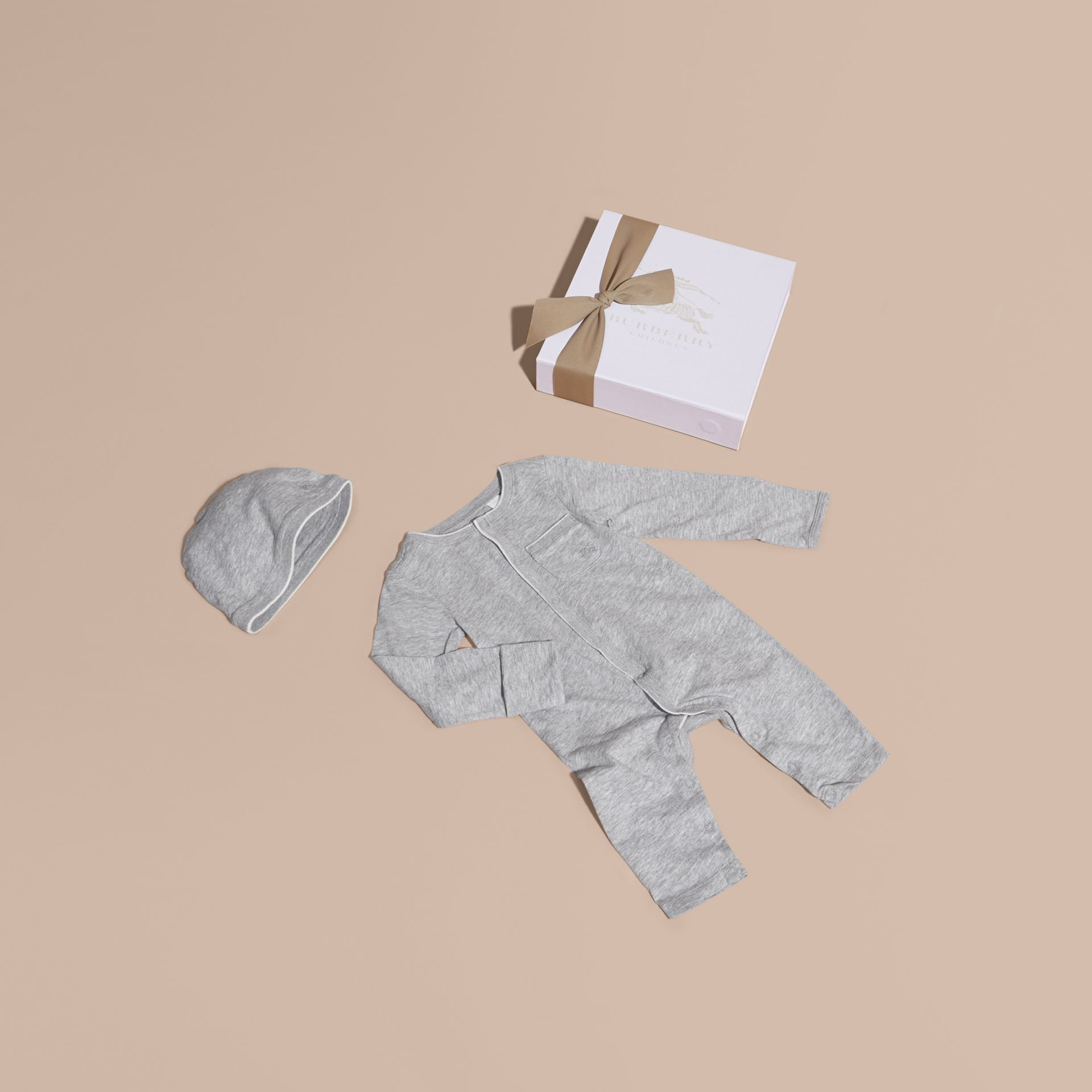 Grey melange Cotton Two-Piece Baby Gift Set - gallery image 1