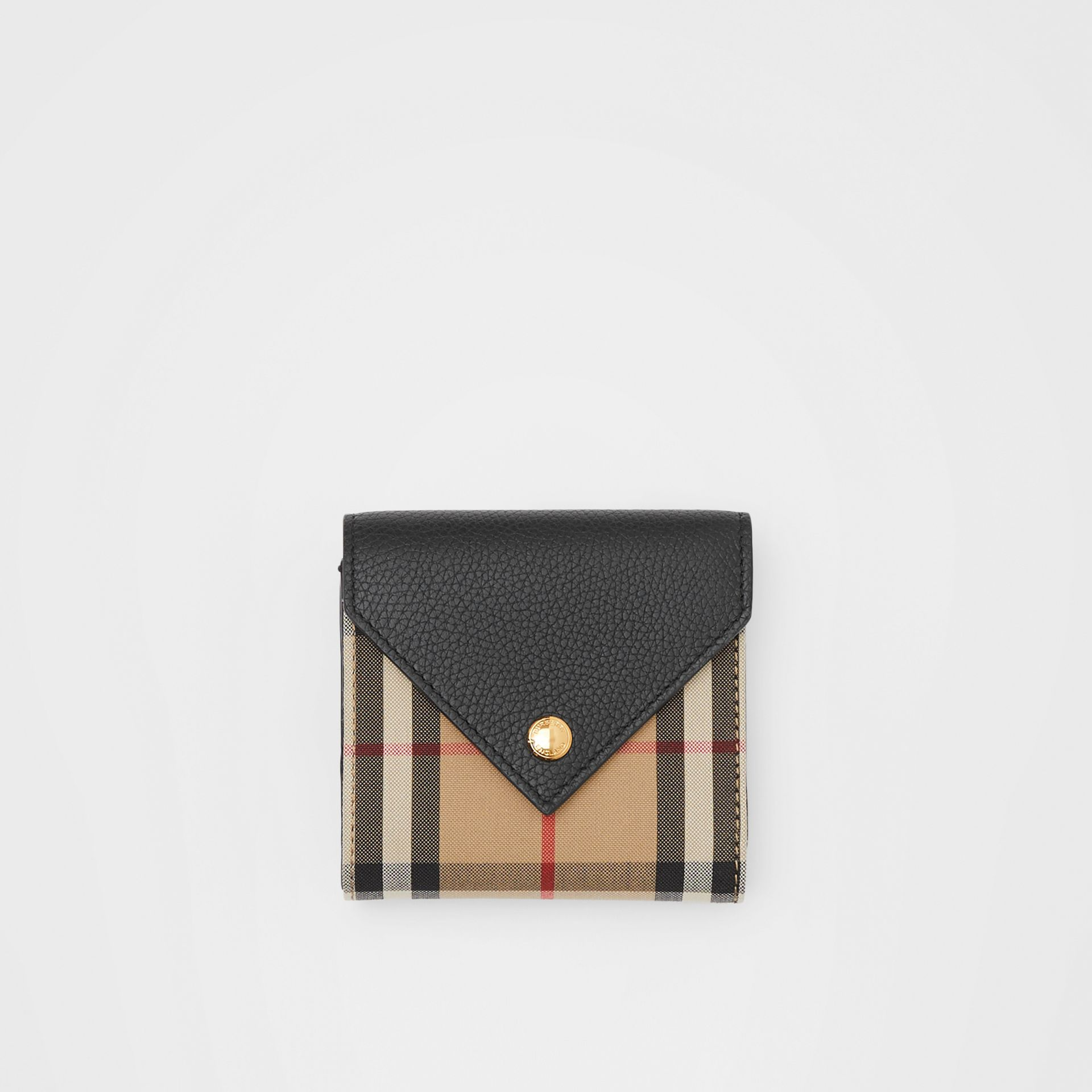 Vintage Check and Grainy Leather Folding Wallet in Black - Women | Burberry Hong Kong S.A.R - gallery image 0