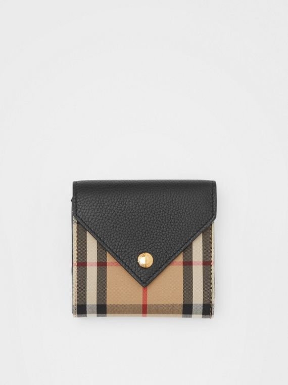 Vintage Check and Grainy Leather Folding Wallet in Black