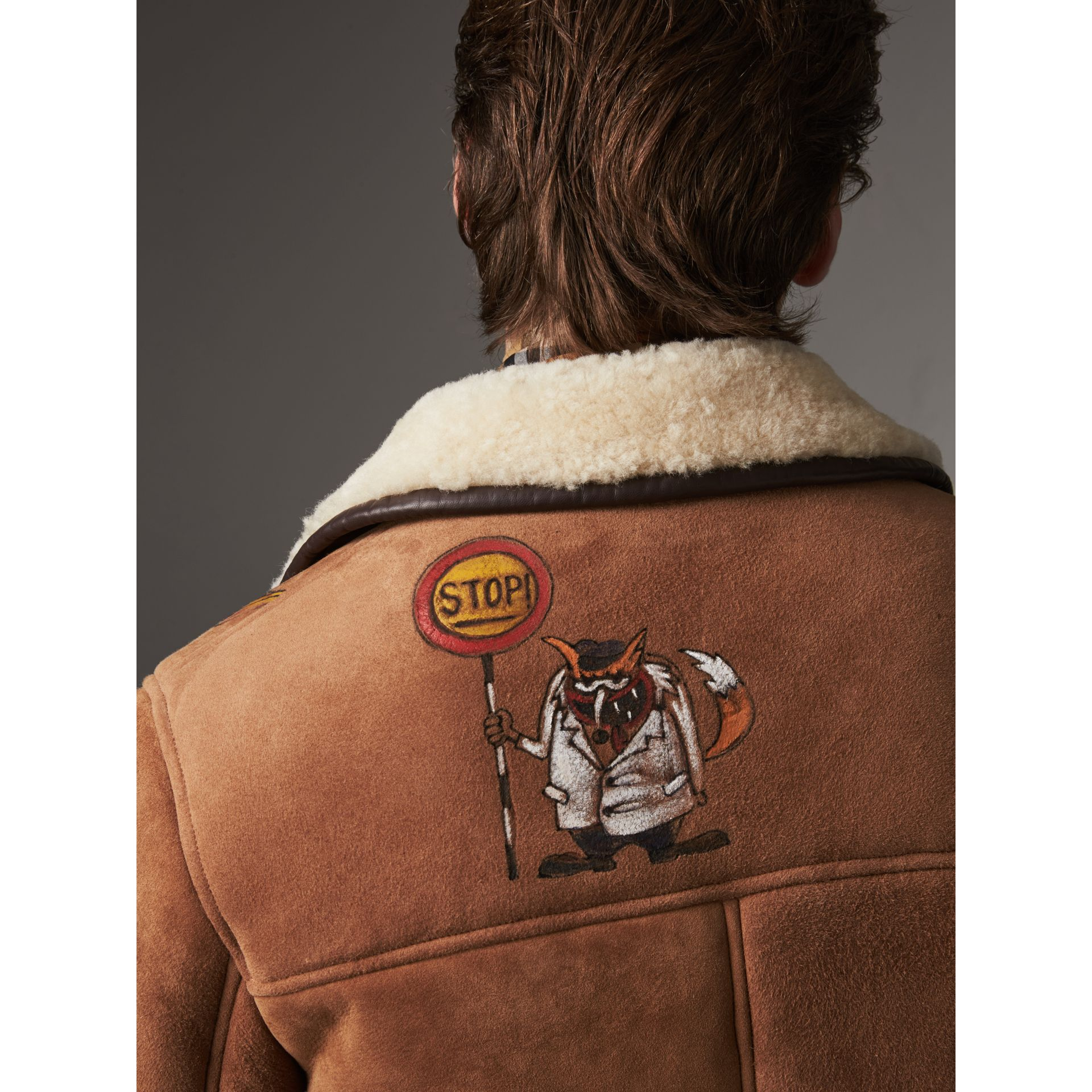Sketch Print Shearling Jacket in Biscuit - Men | Burberry United Kingdom - gallery image 4