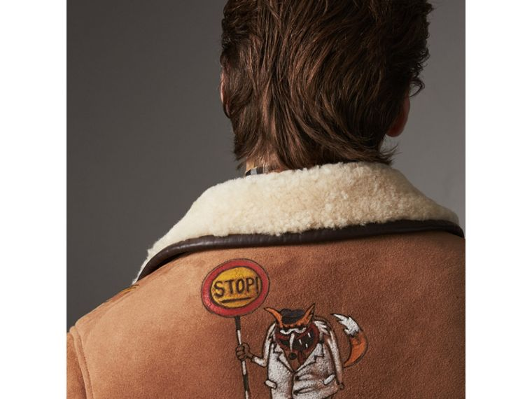 Sketch Print Shearling Jacket in Biscuit - Men | Burberry United States - cell image 4