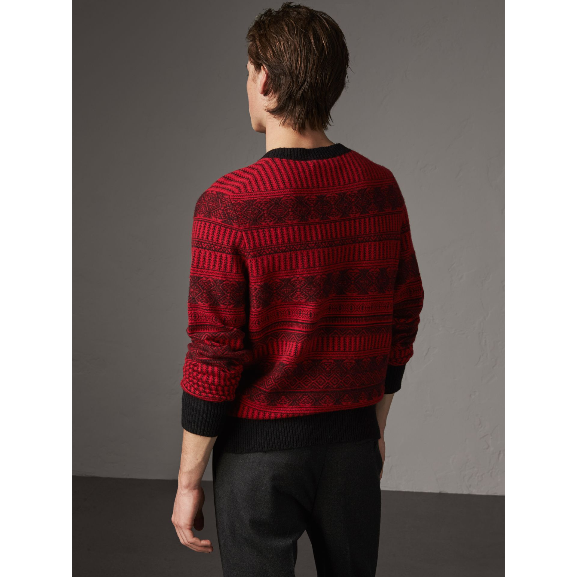 Fair Isle Wool Cashmere Sweater in Military Red - Men | Burberry Australia - gallery image 2