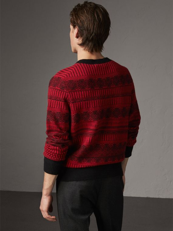 Fair Isle Wool Cashmere Sweater in Military Red - Men | Burberry Australia - cell image 2