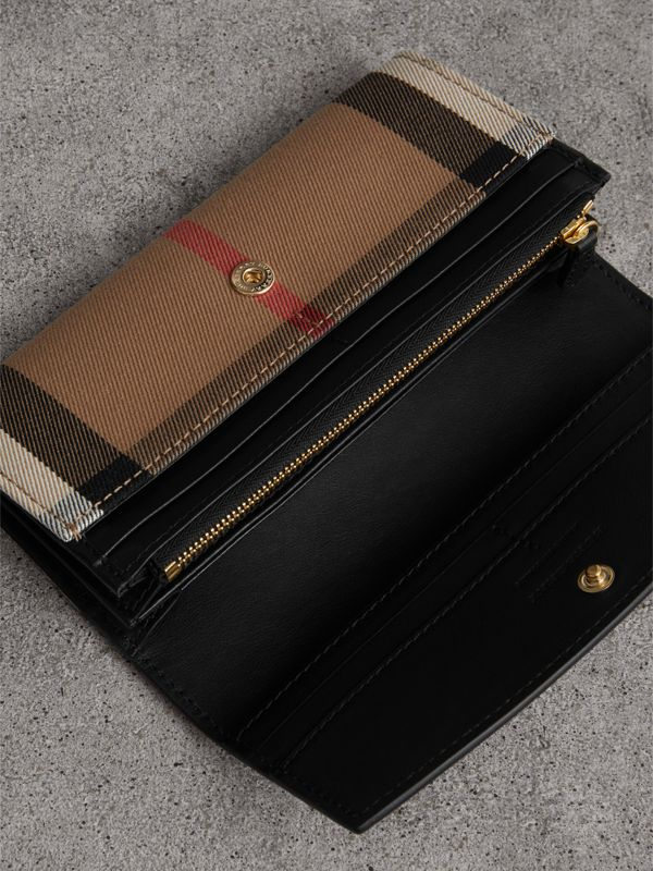 House Check And Leather Continental Wallet in Black - Women | Burberry United Kingdom - cell image 3