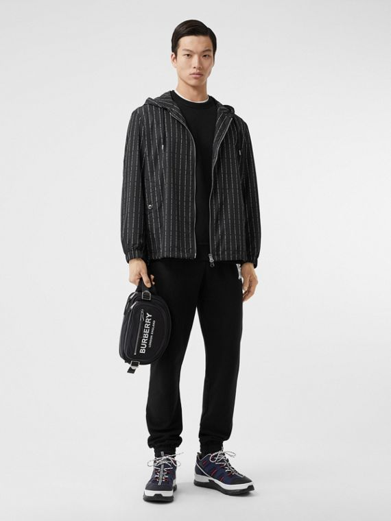 Logo Pinstripe Nylon Hooded Jacket in Black