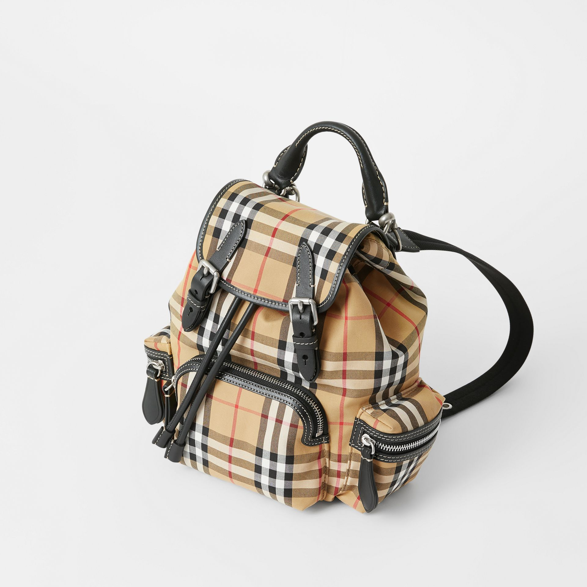 The Small Rucksack in Vintage Check and Leather in Antique Yellow - Women | Burberry - gallery image 4